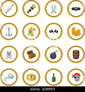 Pirate culture symbols icons circle - Stock Photo