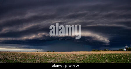 Rotating thunderstorm over rural area, Goodland, Kansas, United States, North America - Stock Photo