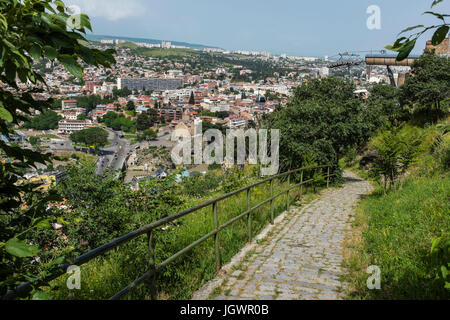 Tbilisi, Georgia, Eastern Europe - view of the city from Narikala hillside. - Stock Photo