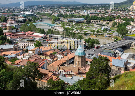 Tbilisi, Georgia, Eastern Europe - View from Narikala Fortress over looking Old Tbilisi, Mtkvari River and Peace - Stock Photo