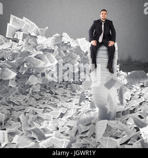 Businessman with paper sheet anywhere. Buried by bureaucracy concept. - Stock Photo