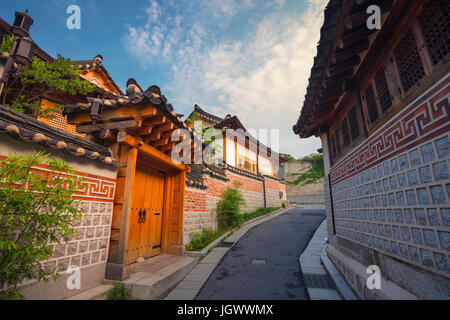 Seoul. Traditional Korean style architecture at Bukchon Hanok Village in Seoul, South Korea. - Stock Photo