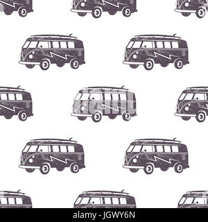 Surfing old style car pattern design. Summer seamless wallpaper with surfer van. Monochrome combi car. Stock illustration. - Stock Photo