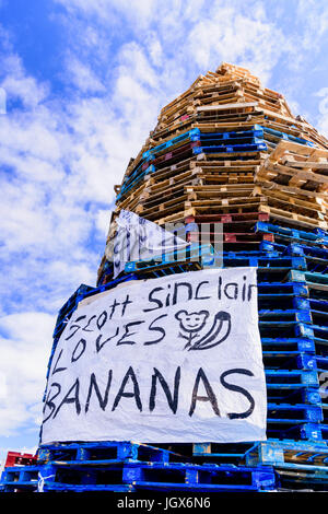 Belfast, Northern, Ireland. 11th July, 2017. Large bonfire built at Avoneil Leisure Centre for the annual 12th July - Stock Photo