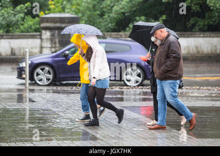 Cardiff, Wales, UK. 11th July, 2017. After a day of grey skies, rain fell heavily in Cardiff, today 11th July 2017. - Stock Photo