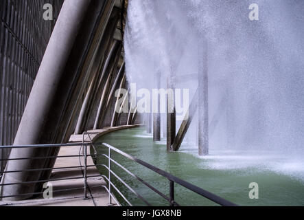 Water is cooled in the cooling tower of Block B of Gundremmingen nuclear power plant near Guenzburg, Germany, 11 - Stock Photo