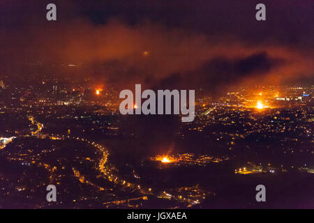 Belfast, Northern Ireland. 12th July 2017. At midnight on the 11th of July, bonfires were lit across Belfast which - Stock Photo