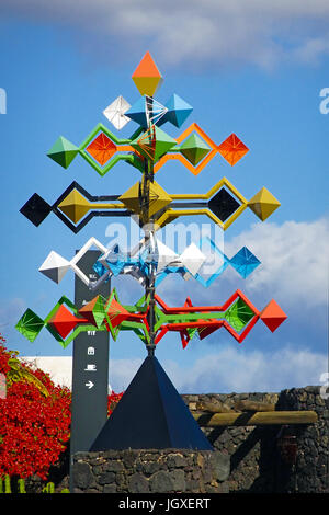 Buntes Windspiel in der Fundacion Cesar Manrique, Taro de Tahiche, Tahiche, Lanzarote, Kanarische Inseln, Europa - Stock Photo