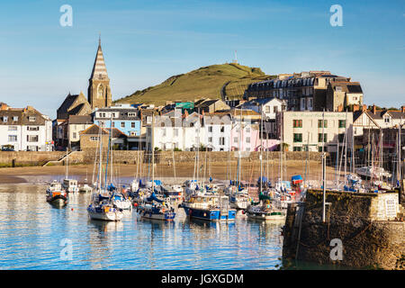 14 June 2017: Ilfracombe, North Devon, England, UK - The harbour on a bright sunny morning in summer, with Capstone - Stock Photo