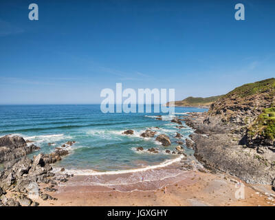 Combesgate Beach, Woolacombe, North Devon, England, UK, on one of the hottest days of the year. - Stock Photo