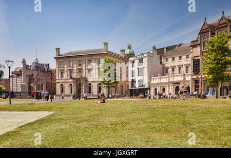 21 June 2017: Exeter, Devon, England, UK - Some of the lovely old houses on Cathedral Green. - Stock Photo