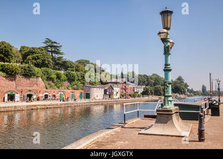 21 June 2017: Exeter, Devon, England, UK - A view along the River Exe to some of the attractions on Exeter Quays. - Stock Photo