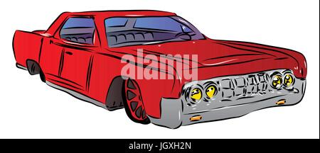 Vector illustrated cartoon luxury car on white background. - Stock Photo