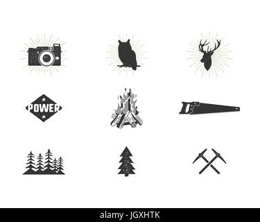Outdoor adventure silhouette icons set. Climb and camping shapes collection. Simple black pictograms bundle. Use - Stock Photo