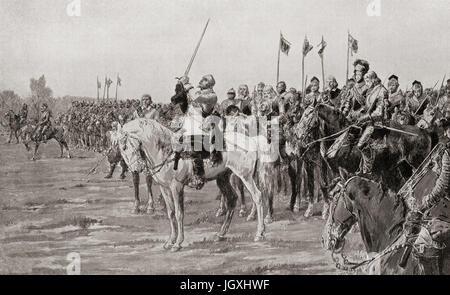 Gustavus Adolphus praying before The Battle of Lützen, 1632, he was later killed in said battle.  Gustav II Adolf, - Stock Photo