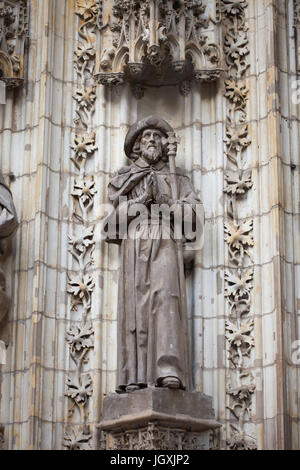 Saint James the Great. Statue on the Portal of the Assumption (Puerta de la Asunción) of the Seville Cathedral (Catedral - Stock Photo