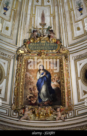 Painting 'Immaculate Conception' by Spanish Baroque painter Bartolomé Esteban Murillo (1667) in the Chapter House - Stock Photo