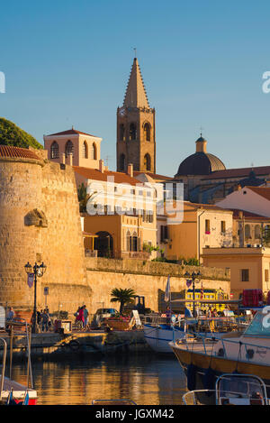 Alghero port Sardinia, view of the medieval wall and tower - the Bastione la Maddalena - in the harbour area of - Stock Photo