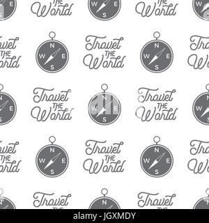 Travel compass seamless background. Travel the World wallpaper pattern design with adventure symbols and typography - Stock Photo