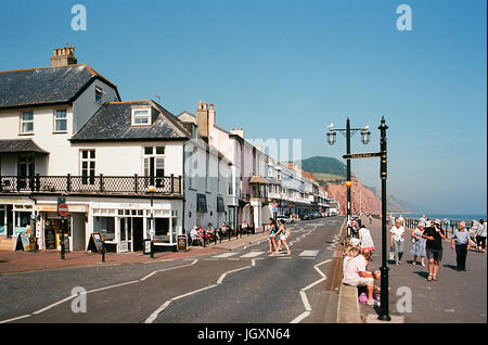 Seafront and promenade at Sidmouth, Devon UK, on the South Coast, in summertime - Stock Photo