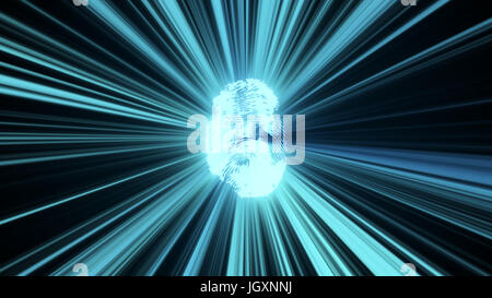 Abstract background with fingerprint and rays. Technology 3d rendering - Stock Photo