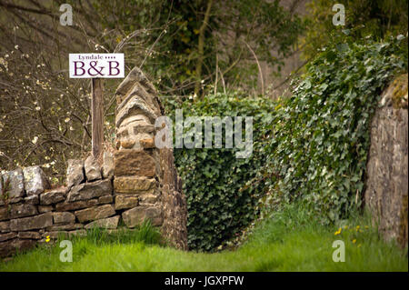 B&B sign. Bellingham, Northumberland - Stock Photo