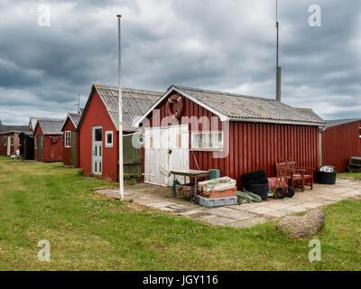 Traditional Fishermans huts at Ringkobing harbor in Jutland, denmark - Stock Photo