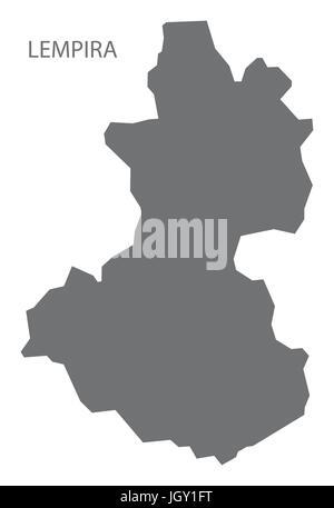 Lempira Honduras map grey illustration silhouette - Stock Photo