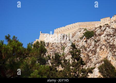 Palamidi Fortress on top of rock formation, Nafplio, Greece - Stock Photo