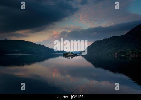 Ullswater sunset, The Lake District, UK - Stock Photo
