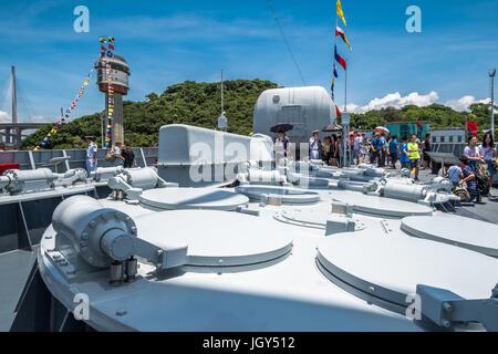 Ngong Shuen Chau Naval Base, Hong Kong  - June 9, 2017 : Jinam (number 152) missile destroyer visited Hong Kong - Stock Photo