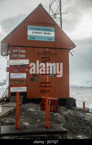 Argentina's Antarctic base Almirante Brown at Paradise Bay - Stock Photo