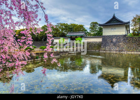 The Imperial Palace buildings and cherry blossoms reflected in the moat in Tokyo, Japan. - Stock Photo
