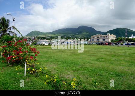 Nevis Peak, a volcano in the Caribbean - Stock Photo
