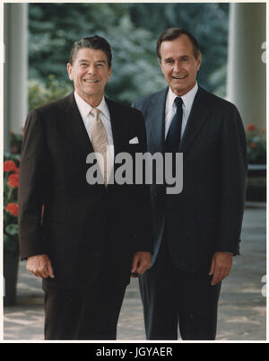 Official Portrait of President Ronald Reagan and Vice-President George Bush - Stock Photo
