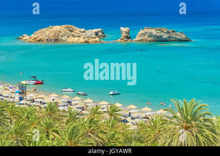 Tourists on the Vai Beach, Crete Island, Greece - Stock Photo