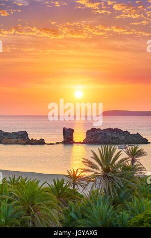 Sunrise at Vai Beach, Crete Island, Greece - Stock Photo