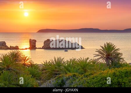Vai Beach at sunrise, Crete Island, Greece - Stock Photo
