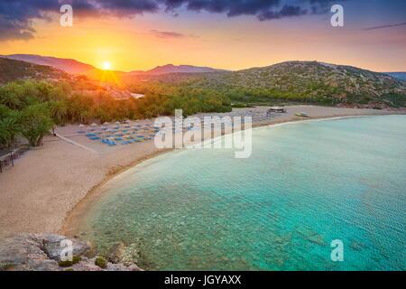 Sunset at Vai Beach, Crete Island, Greece - Stock Photo