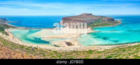 Panoramic view at Balos Beach, Crete Island, Greece - Stock Photo