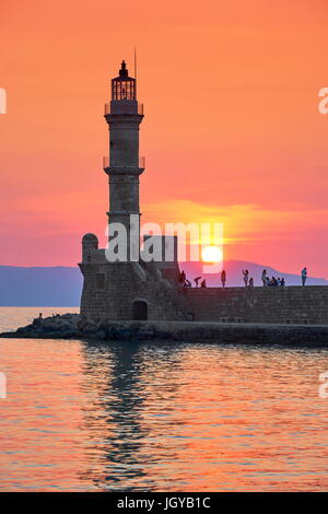 Lighthouse at the sunset, Chania old town, Crete Island, Greece - Stock Photo