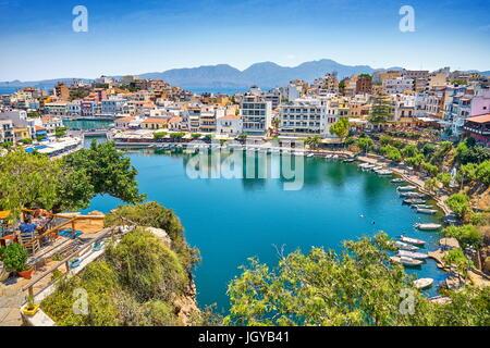 Lake Voulismeni, Agios Nikolaos, Crete Island, Greece - Stock Photo