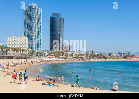 Barcelona Catalunya Platja de la Barceloneta promenade and Barceloneta beach Barcelona spain eu europe Catalonia - Stock Photo