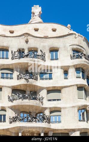 Barcelona Catalunya Barcelona spain  La Pedrera Barcelona Casa Mila Barcelona  by architect Antoni Gaudi eu europe - Stock Photo