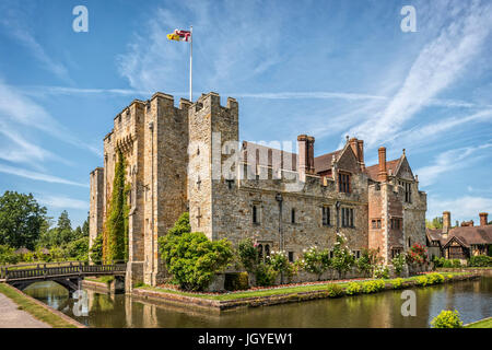 Hever, Kent, England - June 18, 2015. Hever castle as seen on 18 of June, 2015. The oldest part of the castle dates - Stock Photo