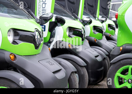Renault Twizys of eMobility Alesund, Norway. The Renault Twizy is a battery-powered 2 seat electric city car with - Stock Photo
