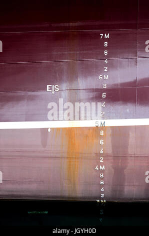 metric draft marks on a ship - Stock Photo