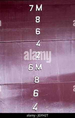 metric draft marks on a ship - Stock Photo