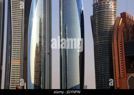 Etihad Towers building complex. Jumeirah. 2007-2011. Emirate of Abu Dhabi. - Stock Photo