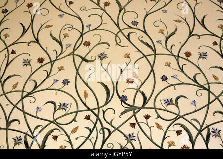 Flowers pattern. Thousands of rare and semi-precious stones, encrusted in marble, were used to decorate the structure. - Stock Photo